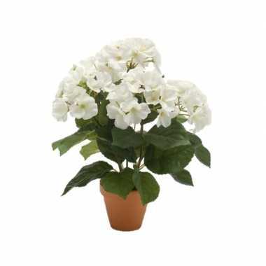 Witte kunstplant hortensia plant in pot