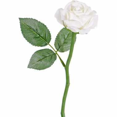 Witte kunstroos kunstbloemen 27 cm decoratie