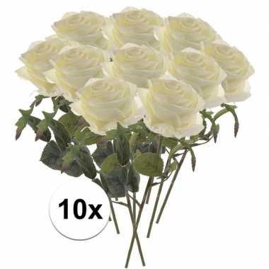 Witte roosjes kunst tak 45 cm 10 stuks