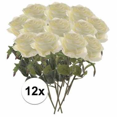 Witte roosjes kunst tak 45 cm 12 stuks