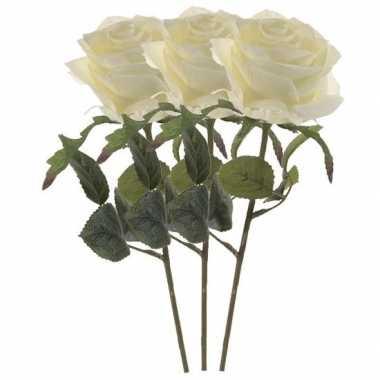 Witte roosjes kunst tak 45 cm 3 stuks