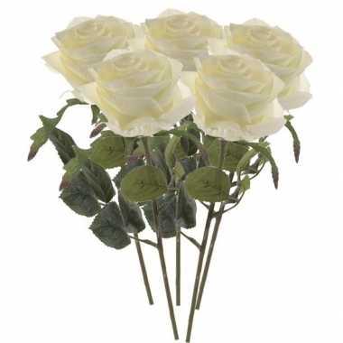 Witte roosjes kunst tak 45 cm 5 stuks