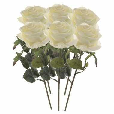 Witte roosjes kunst tak 45 cm 6 stuks