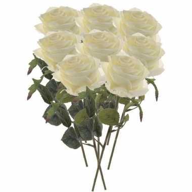 Witte roosjes kunst tak 45 cm 8 stuks