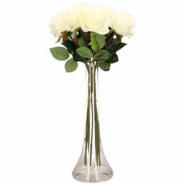 Woondecoratie smalle vaas met 10 witte rozen