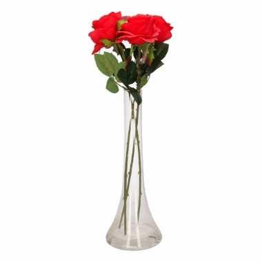 Woondecoratie smalle vaas met 3 rode rozen