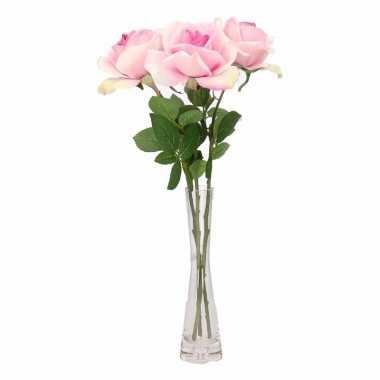 Woondecoratie smalle vaas met 3 roze rozen 37 cm