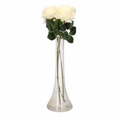 Woondecoratie smalle vaas met 3 witte rozen