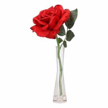 Woondecoratie vaasje met luxe rode roos 31 cm