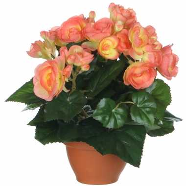 Zalmroze begonia kunstplant 25 cm in terracotta pot