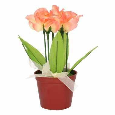 Bloemen In Pot.Zalmroze Bloemen Kunstplant Tulpen Met Pot