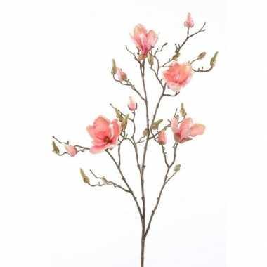 Zalmroze magnolia kunstbloem 105 cm