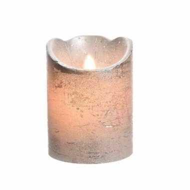 Zilveren nep kaars met led licht 10 cm