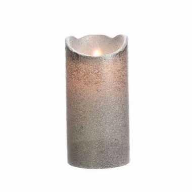 Zilveren nep kaars met led-licht 15 cm