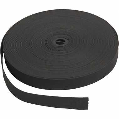 Zwart elastiek band 20 mm dik - 25 meter
