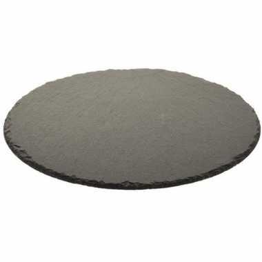 Zwarte stenen kaarsen tray/plateau rond leisteen 30 cm