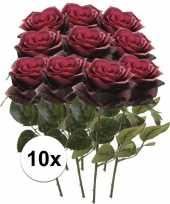 10 x kunstbloemen steelbloem donker rode roos simone 45 cm