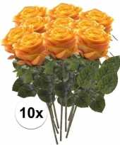 10 x kunstbloemen steelbloem geel oranje roos simone 45 cm