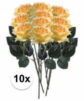 10 x kunstbloemen steelbloem geel roos simone 45 cm