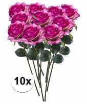 10 x kunstbloemen steelbloem paars roze roos simone 45 cm