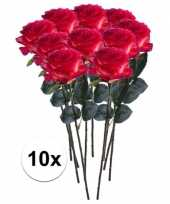10 x kunstbloemen steelbloem rood gele roos simone 45 cm