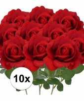 10x kunstbloemen roos rood 37 cm