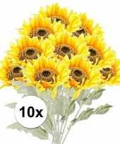 10x kunstbloemen steelbloem gele zonnenbloem 82 cm
