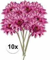 10x kunstbloemen steelbloem roze gerbera 47 cm