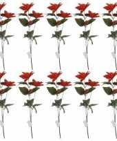 10x rode kerstbloem 66 cm