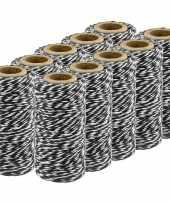10x zwart wit katoenen touw 50 meter cadeaulint