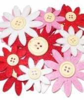 12 stuks gekleurde hobby bloemen rood wit roze van vilt met houten knoop