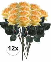 12 x kunstbloemen steelbloem geel roos simone 45 cm