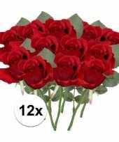 12 x kunstbloemen steelbloem rode roos 30 cm