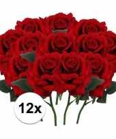 12 x kunstbloemen steelbloem rode roos deluxe 31 cm