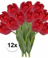 12 x kunstbloemen steelbloem rode tulp 48 cm