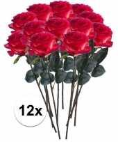 12 x kunstbloemen steelbloem rood gele roos simone 45 cm