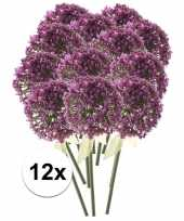 12 x kunstbloemen steelbloem roze paarse sierui 70 cm