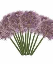 12x lila paarse kunst allium sierui kunstbloemen 65 cm decoratie