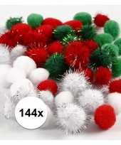 144x hobby pompons 15 20 mm wit groen rood