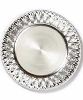 1x ronde kaarsenborden onderborden zilver met werkje 33 cm