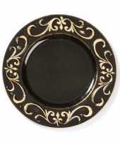1x ronde kaarsenborden onderborden zwart met goud 33 cm