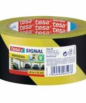 1x tesa aanduidingtape geel met zwart 5 cm x 66 mtr