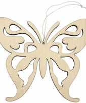 1x vlinders ophang decoratie van hout 16 5 x 14 cm