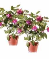 2 stuks fuchsia kunstplanten in potje 30 cm donkerroze