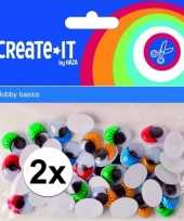 2x 40 stuks zelfklevende wiebelogen ovaal met gekleurde wimpers