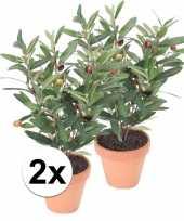 2x groen kunstplant olijf boompje plant in pot 10110279