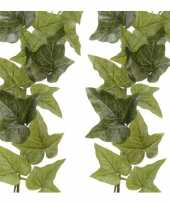 2x groene hedera helix klimop hangplant kunstplanten 180 cm