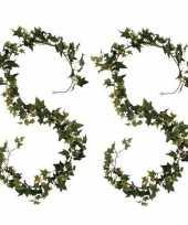 2x groene klimop hangplanten 180 cm kunstplanten slinger woonaccessoires woondecoraties