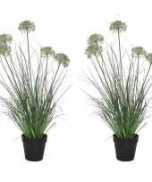 2x groene paarse allium sierui kunstplanten 75 cm met zwarte pot