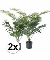 2x groene palmboom kunstplant 90 cm in pot